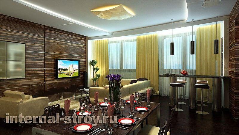 Кухня столовая гостиная дизайн фото